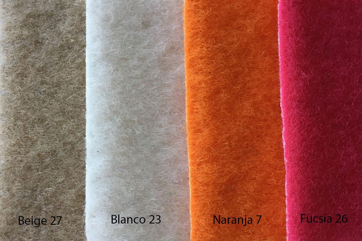 Moqueta Terciopelo colores beige, blanco , naranja y fucsia en DecoStands