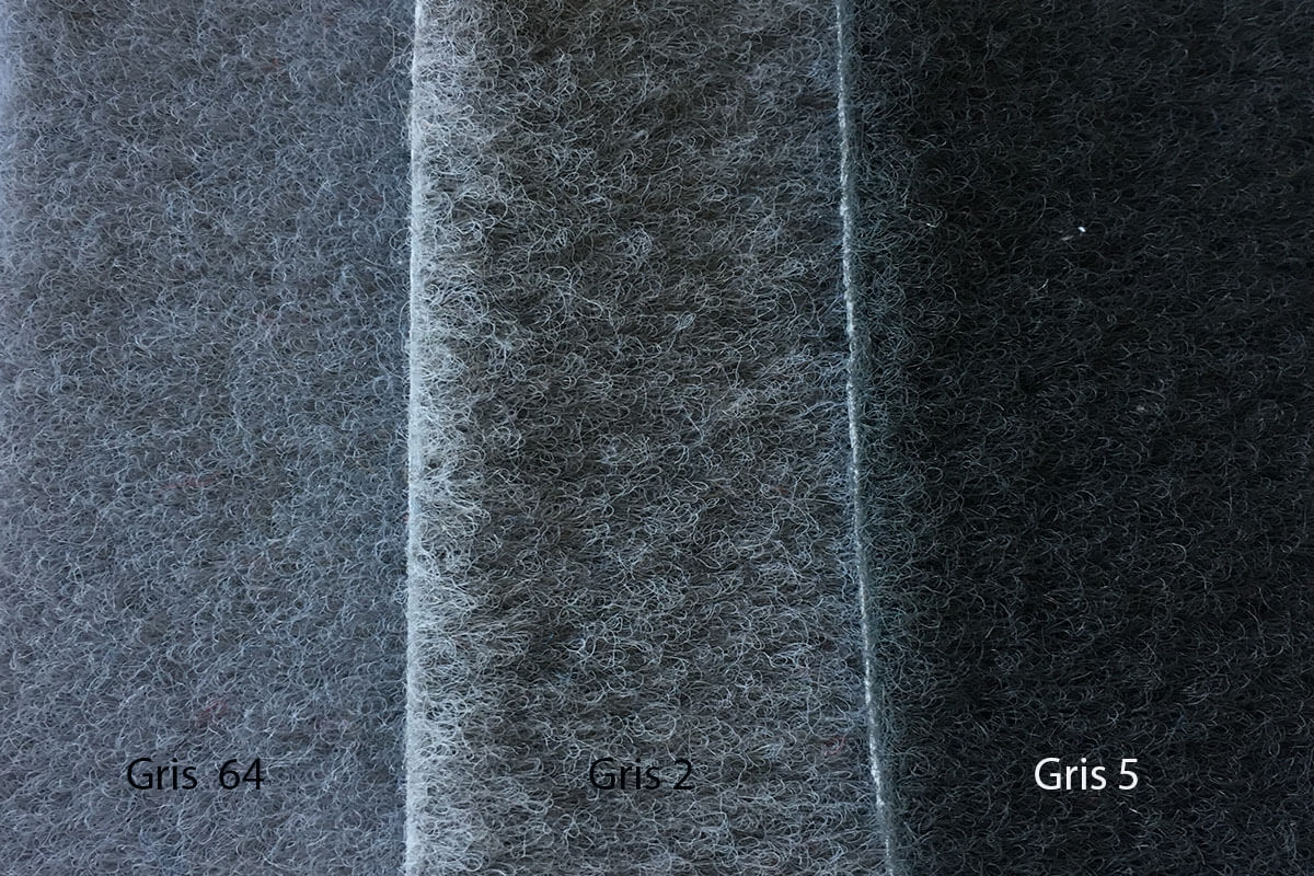 Moqueta Terciopelo colores grises en DecoStands