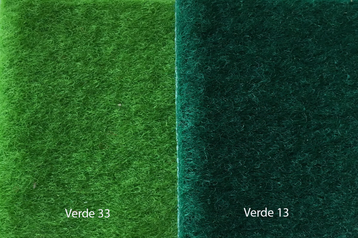 Moqueta Terciopelo colores verdes en DecoStands