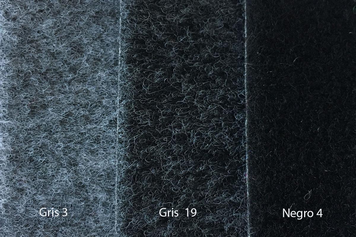 Moqueta Terciopelo grises y negro en DecoStands