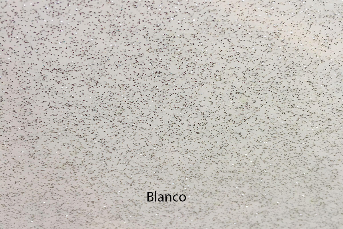 PVC de purpurina blanca en DecoStands