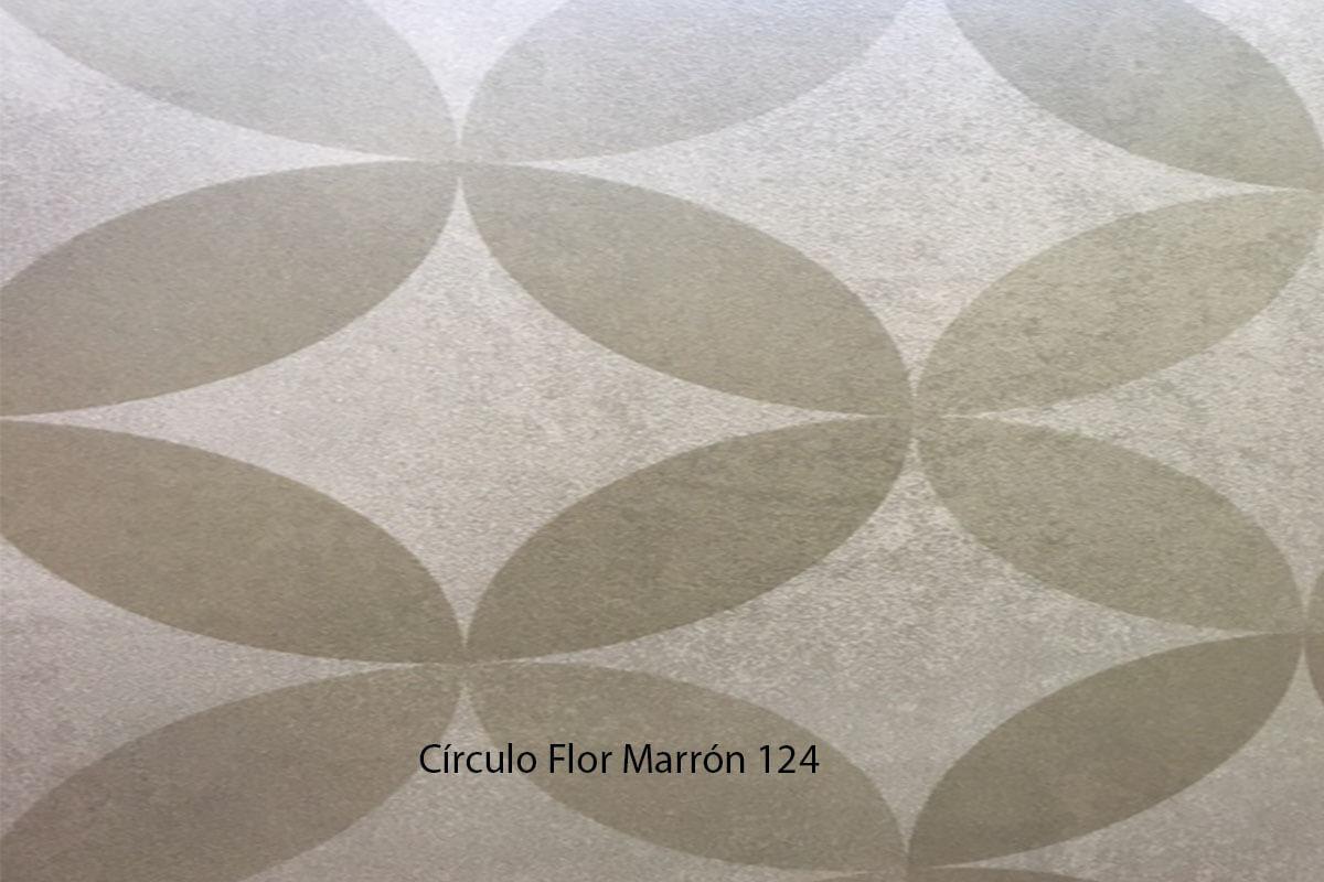 Suelo Vinílico Mosaico Círculo Flor Marrón 124 en DecoStands