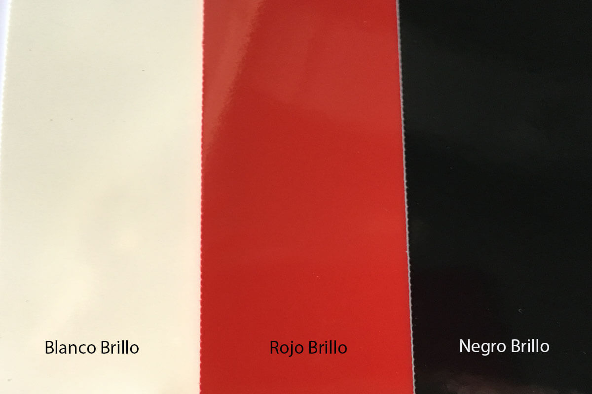 Suelo de PVC Brillo colores rojo, blanco y negro en DecoStands