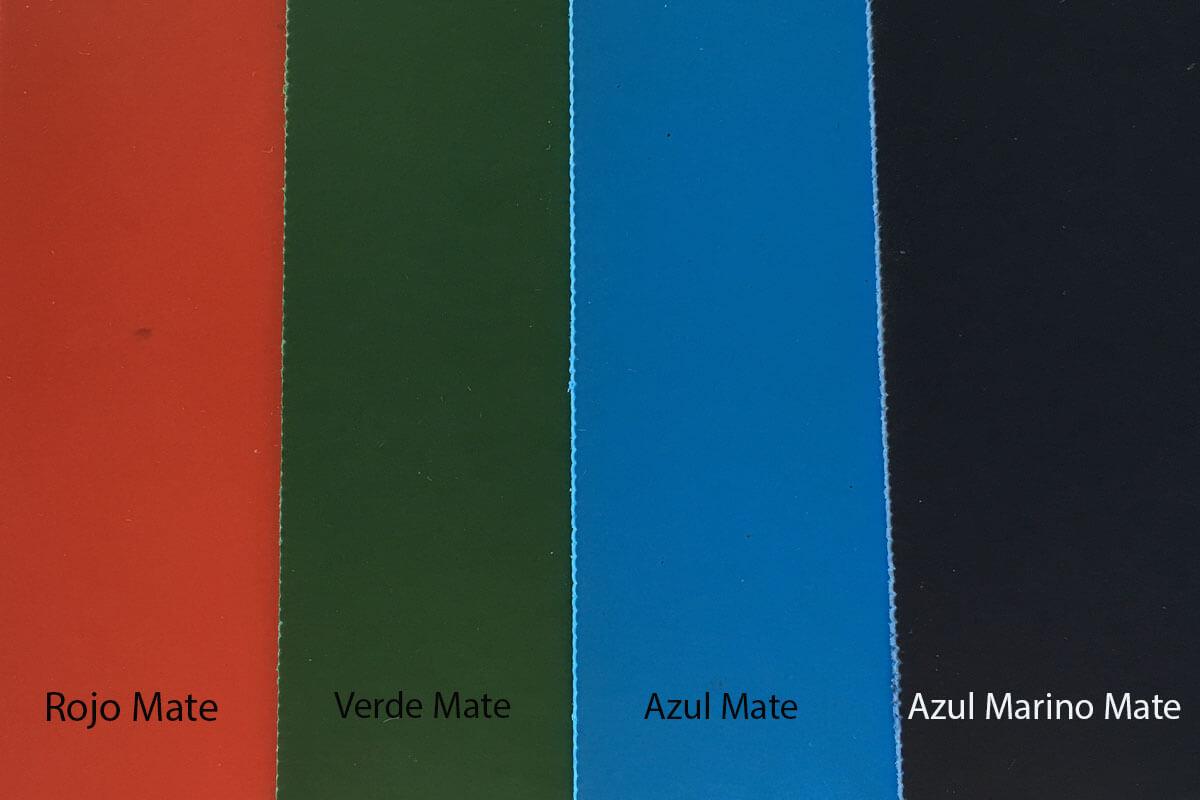 Suelo de PVC mate rojo, verde, azul y azul marino en DecoStands